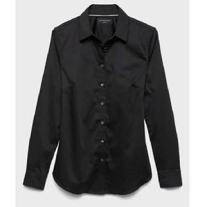 Banana Republic Black Fitted Button Down Shirt, 8P